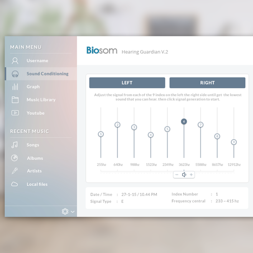 Design an desktop software interface for Biosom - Hearing Guardian version 2