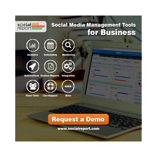 Banner ad for social media platform company