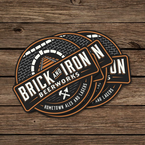 Emblem logo for craft brewery with name Brick and Iron