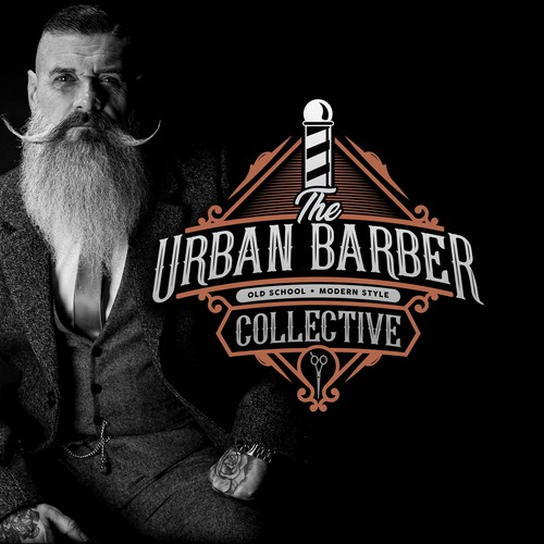 Vintage style logo for a unique brooming and barber company