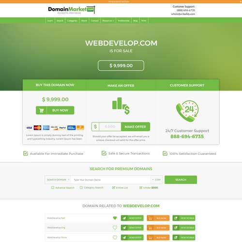 Domain Name Sales Page