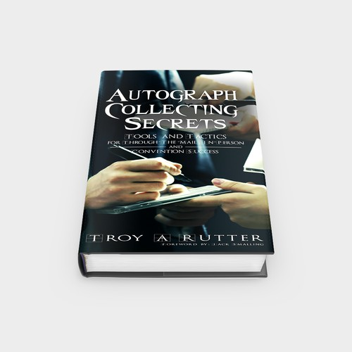 Create a compelling non-fiction book cover on autograph collecting