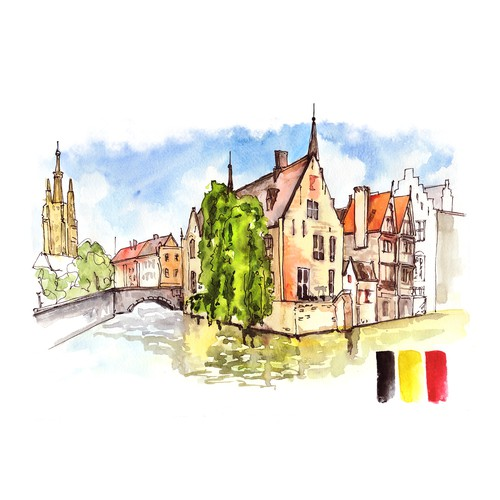 Hand painted water-colour sketch for travel book