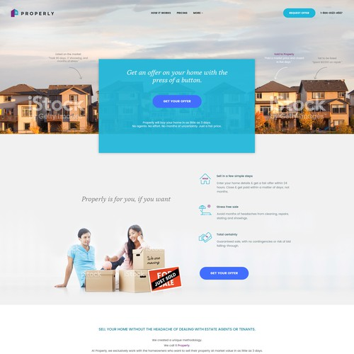Homepage design for real estate tech company based in Canada