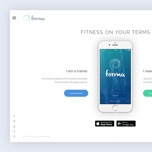 A minimal and clean landing page design for fitness app.