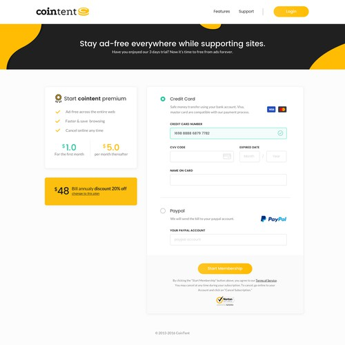 Payment Form Page - Website