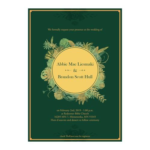 Wedding Invitation Card for Abbie and Brandon