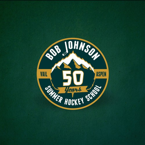 Create a vintage logo for the 50th anniversary of the Bob Johnson Hockey School!