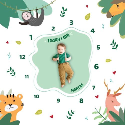 Illustration design for a baby milestone blanket.