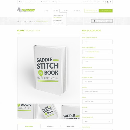 Ecommerce site design for a locally-owned print shop - Upload page