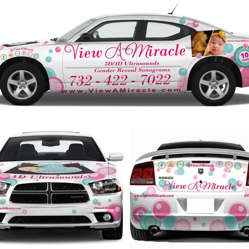 Playful and feminine concepts for car wrap