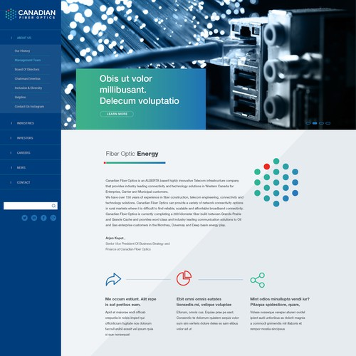 Website for Canadian Fiber Optics Corp.