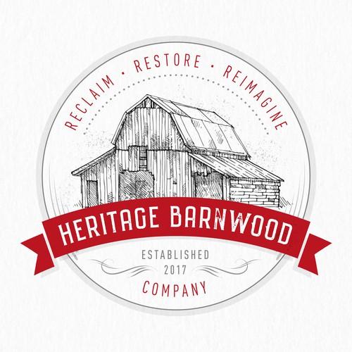 Vintage logo for Heritage Barnwood Company