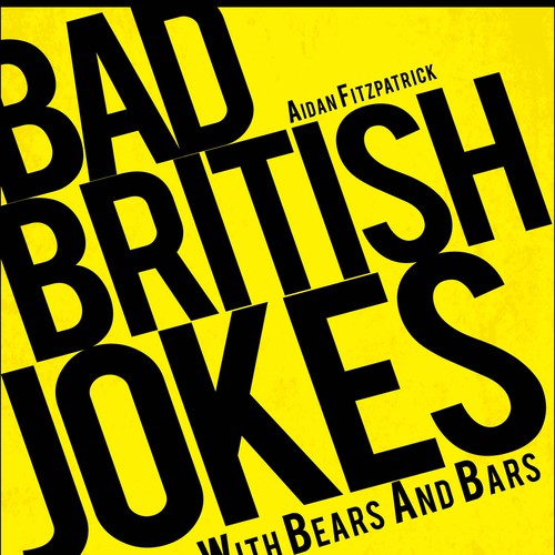 """Bad British Jokes"", a cover for a dry joke book with bears and bars"