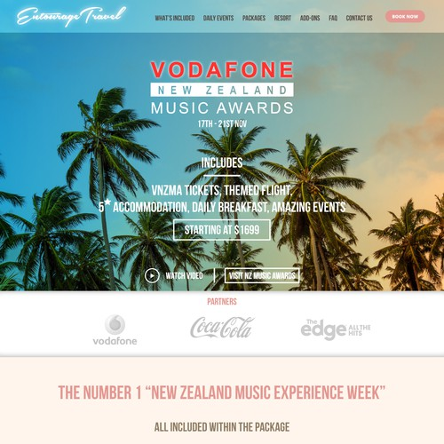 Website design for Entourage Travel