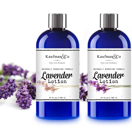 Lavender Lotion Label Bottle Design
