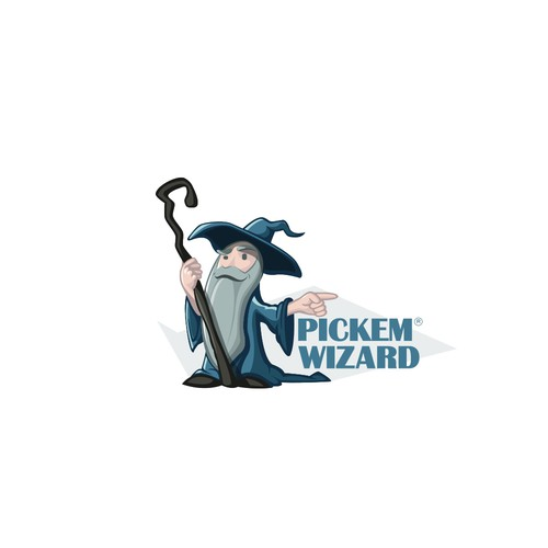 Create a Full Body Wizard Logo Who Appears to Know More Than He's Letting On