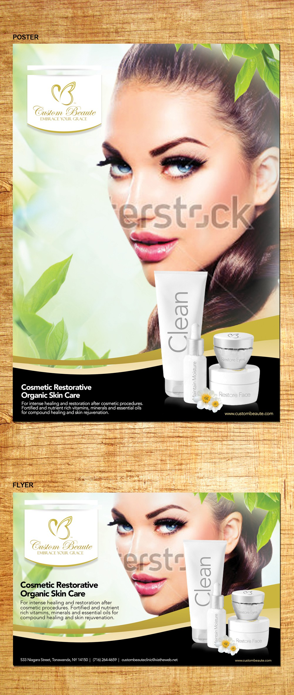 Organic Restorative Skin Care line poster being featured in Hollywood!