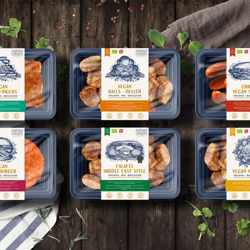Label designs for Vegan food