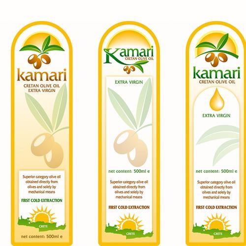 Logo and bottle sticker for olive oil brand