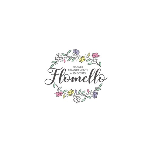 Logo concept for Flomello Flower Arragements and Event