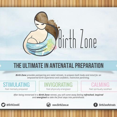 Create clean, contemporary banner ad for Birth Zone retreats.