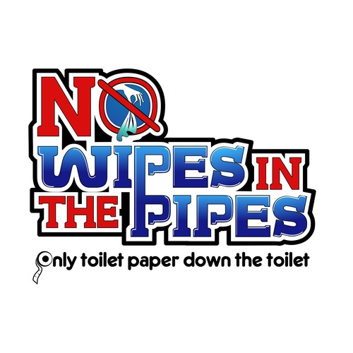 """Logo design for the """"No Wipes in the Pipes"""" campaign"""