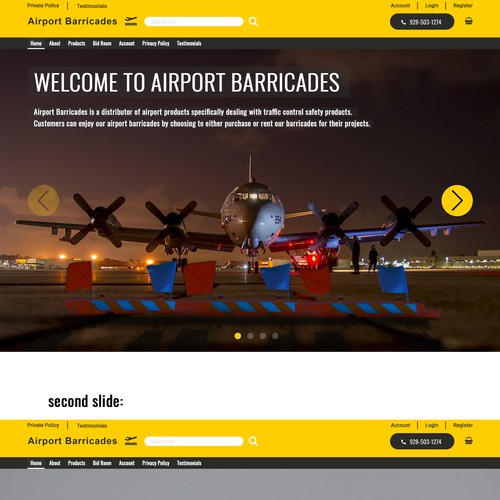 Main slider for airport products site