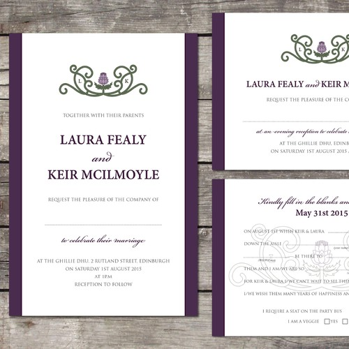 Create a wedding invite for a fun Scottish couple