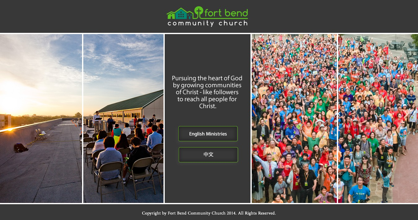 Create a simple, modern, and clean one page landing page for a church