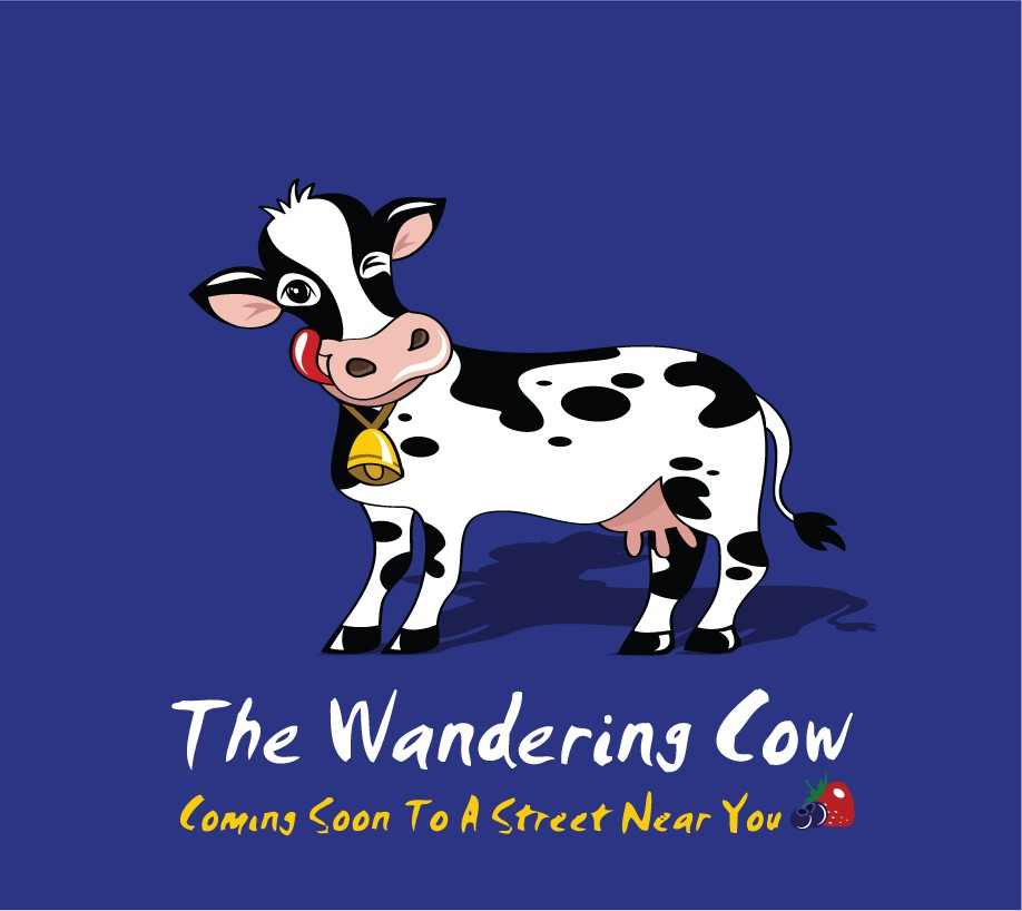 Design cow mascot for The Wandering Cow -- a frozen yogurt business