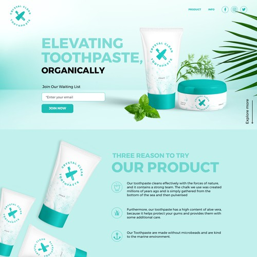 Landing page Elevating Toothpaste