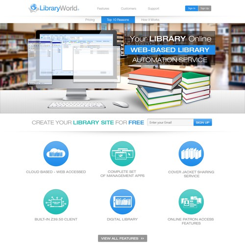Create an awesome design for LibraryWorld