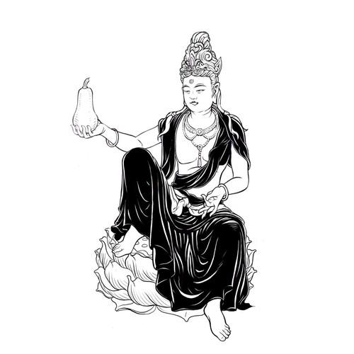 Guan Yin with Butternut Squash Illustration