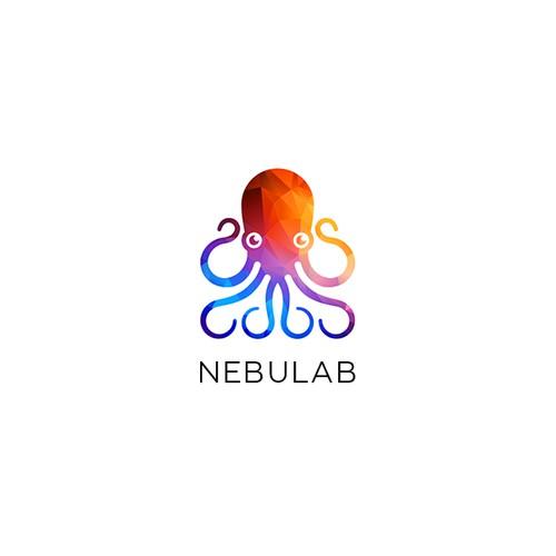 Origami rainbow colored logo for Nebulab
