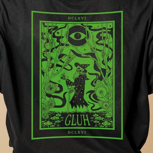 Dark Tarot Inspired shirt design for GLUH Apparel