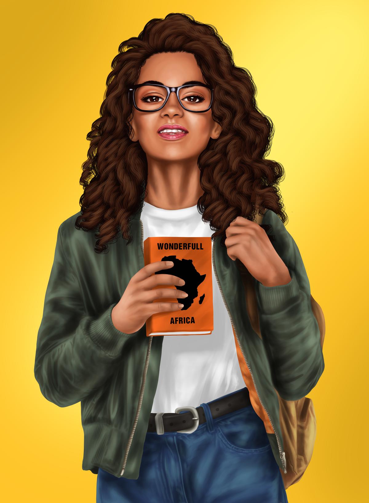 american african teenage illustration