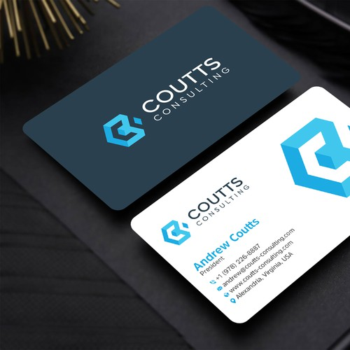 Business card for a blockchain services company using existing marketing materials