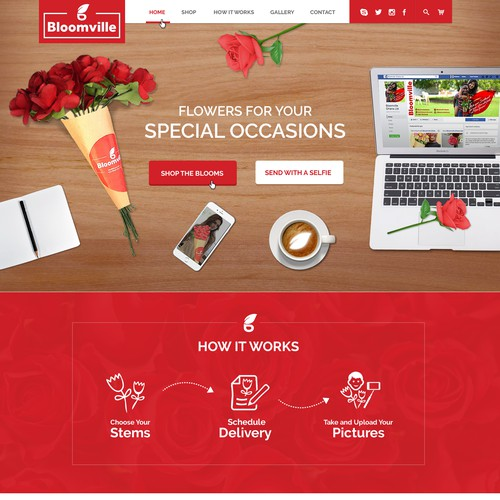 Bloomville Flower suppliers Home page design.