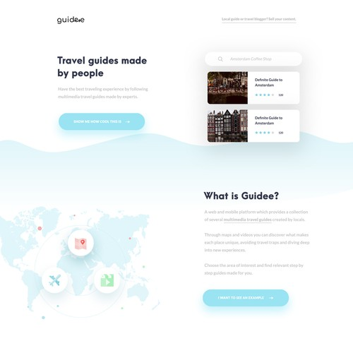 Landing page for travel app Guidee
