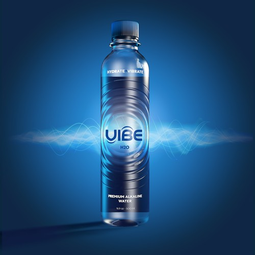 Create an AMAZING bottle design for a Premium Alkaline Water Company.