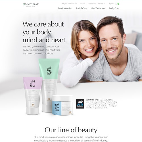 Homepage for Omnitural - 100% natural cosmetics