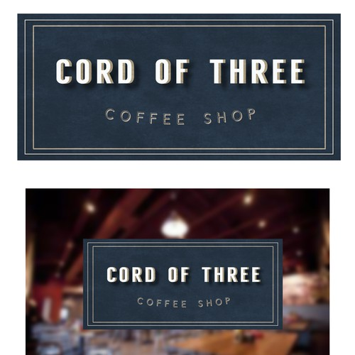Create a unique logo for a cutting-edge,modern coffee shop named Cord of Three.