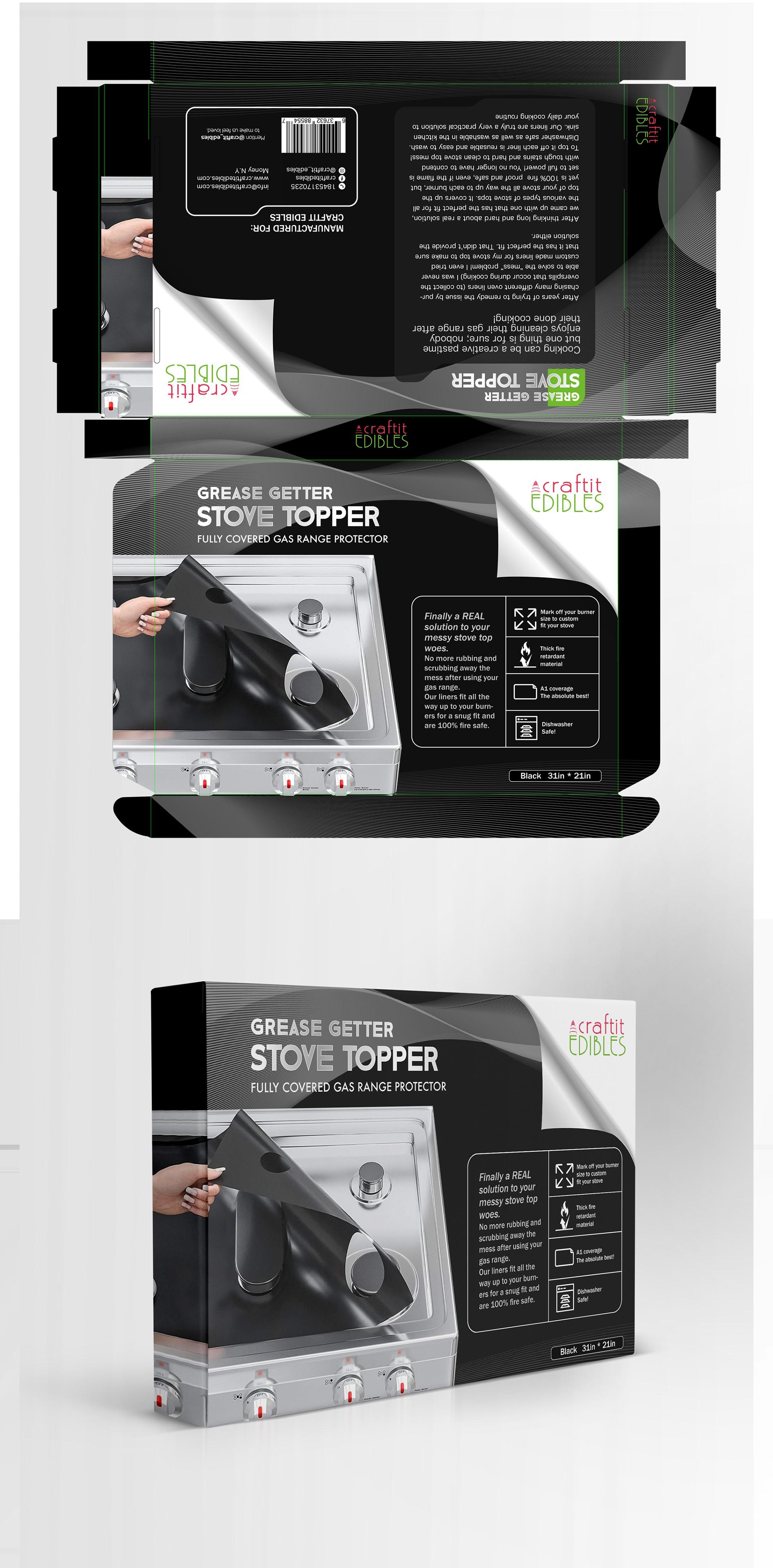 custom, new  gas range cover package design.
