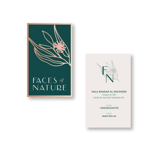 Beautifully branded Business card options for Faces of Nature 1-on-1 project