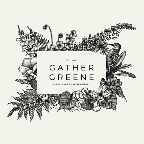 Botanically inspired logo design for Gather Greene Event Venue.