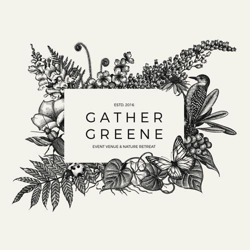 Botanically inspired logo design for Gather Greene Event Venue.