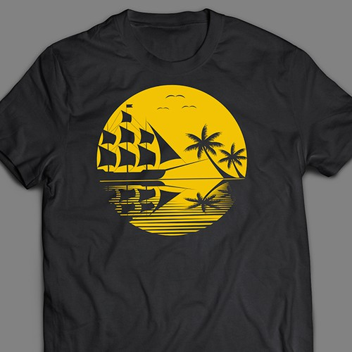 T-shirt design with ship and palms on sunset