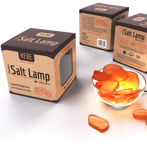Box packaging for a salt lamp