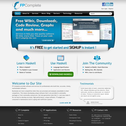 Software development learning center website for FP Complete